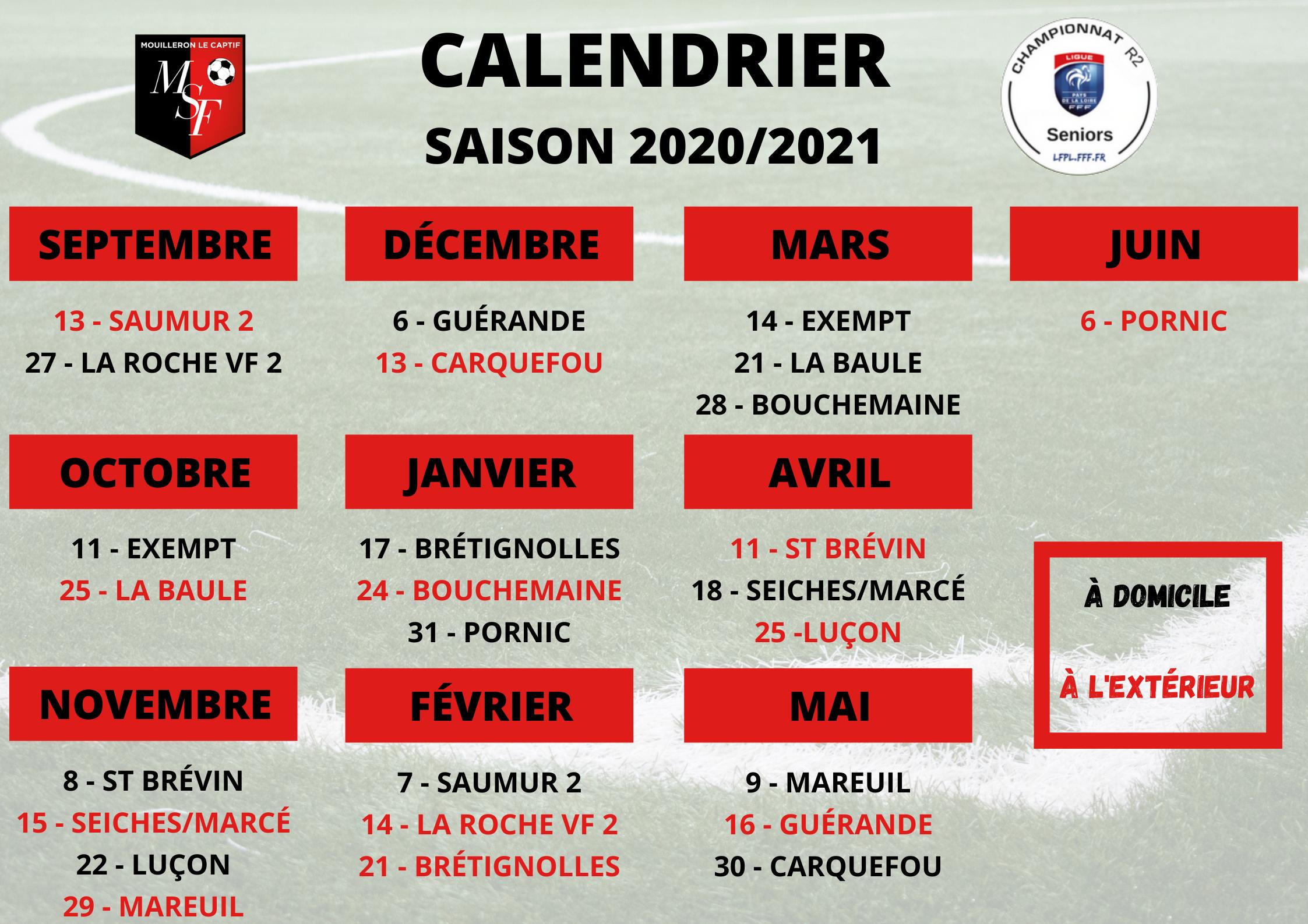 Calendrier de Régional 2 – Saison 2020/21